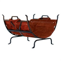 Uniflame Olde World Iron Log Holder with Suede Leather Carrier