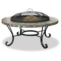 Uniflame Wood Burning Slate Tile and Stone Fire Pit with Copper Accents