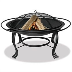 34.6 Inch Firepit with Outer Ring in Black