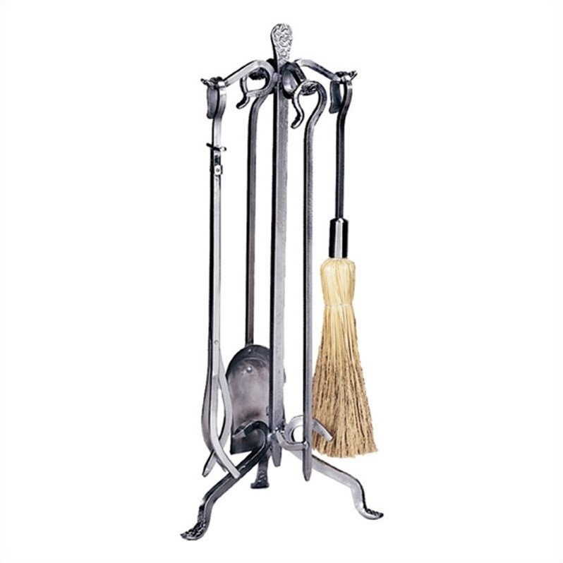 5 Piece Pewter Wrought Iron Fireset with Crook Handle