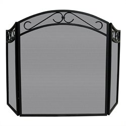 3 Fold Black Wrought Iron Arch Top Decorative Scrolls Screen