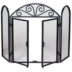 3 Fold Wrought Iron Screen with Opening Doors