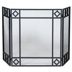 3 Fold Black Wrought Iron Screen with Diamond Design