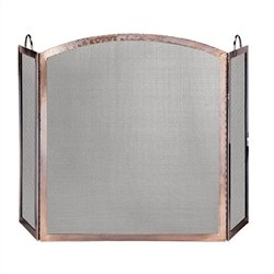 3 Panel Antique Copper Screen With Arched Center Panel