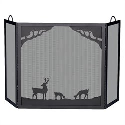 Deluxe 3 Panel Black Wrought Iron Screen With Deer In Forest Scene