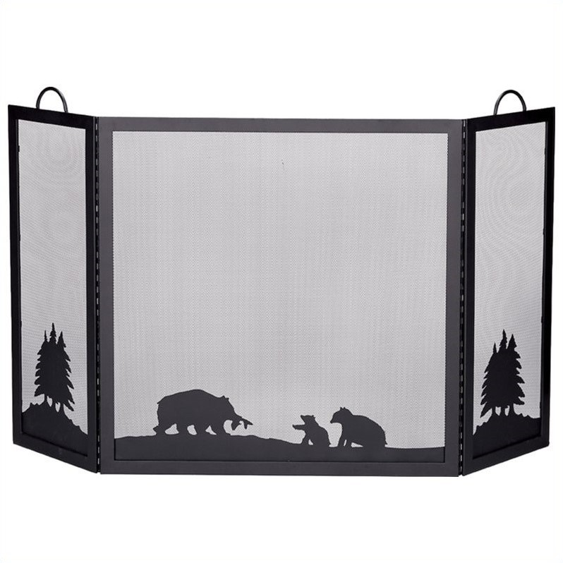 Deluxe 3 Panel Black Wrought Iron Screen With Hunting Bear Scene
