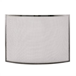 Single Panel Curved Pewter Fireplace Screen