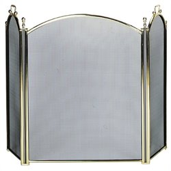 Uniflame 3 Fold Large Diameter Polished Brass Screen with Woven Mesh