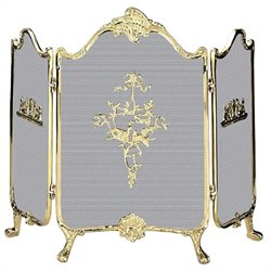 3 Fold Ornate Fully Cast Solid Brass Screen