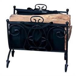 Uniflame Heavy Weight Black Wrought Iron Log Holder with Canvas Carrier
