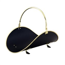 Uniflame 21 Inch Polished Brass/Black Woodbasket