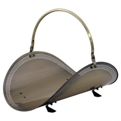 Uniflame 21 Inch Antique Brass Filigree Woodbasket