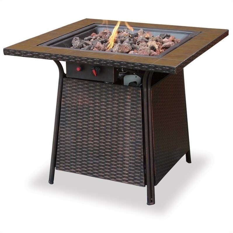 Uniflame LP Gas Outdoor Firebowl with Tile Mantel