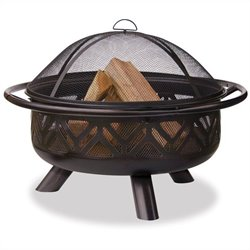 Uniflame Outdoor Firebowl with Geometric Design in Oil Rubbed Bronze