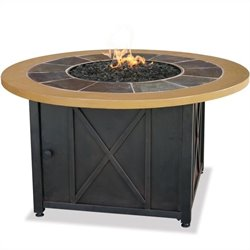 Uniflame LP Gas Outdoor Firebowl with Slate and Faux Wood Mantel