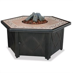 Uniflame LP Gas Outdoor Firebowl with Decorative Tile Mantel