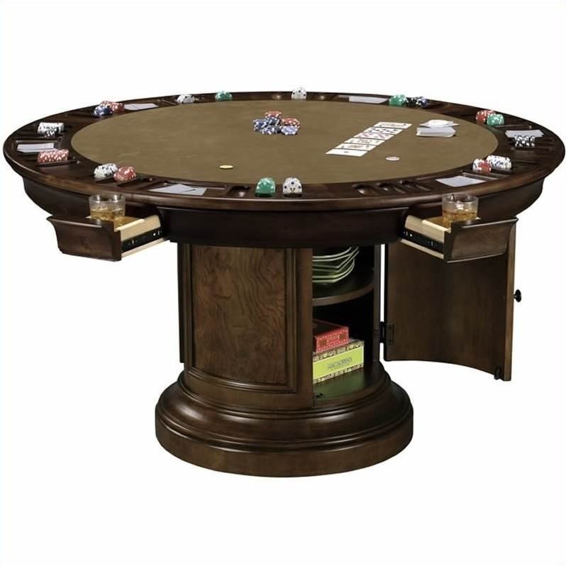 Howard miller ithaca round poker table 699012 for Dining room game table