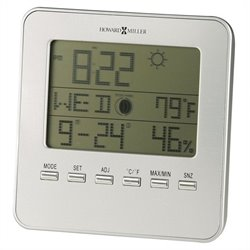 Howard Miller Weather View Table Alarm Clock in a Satin Silver Finish