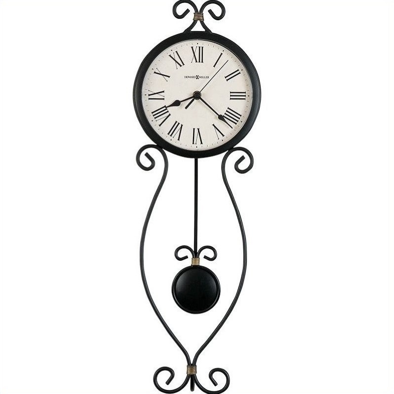 Ivana Wall Clock in Antique Black with Gold Highlights
