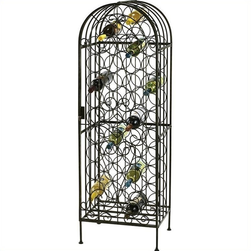 Howard Miller Wrought Iron Wine Storage Arbor in Warm Gray Finish