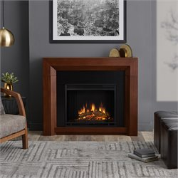 Real Flame Hughes Electric Fireplace in Vintage Black Maple