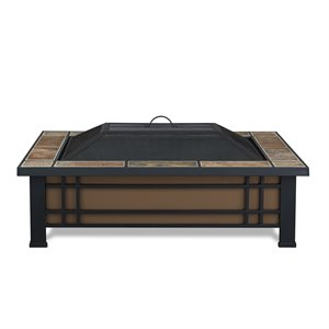 Real Flame Hamilton Wood Burning Fire Pit in Natural Slate Tile