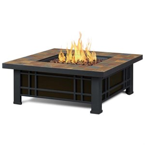 Real Flame Morrison Square Propane Fire Pit In Natural Slate Tile