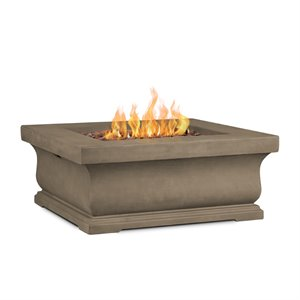 Real Flame Treviso Square Propane Fire Pit in Dove Gray