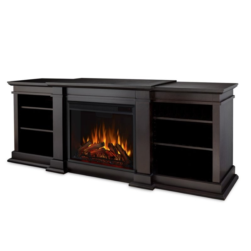 Fresno TV Stand Electric Fireplace in Dark Walnut