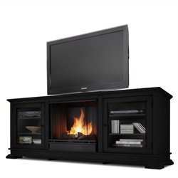 Real Flame Hudson Ventless Gel Fireplace and TV Stand in Black Finish