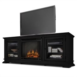 Real Flame Hudson Freestanding Electric Fireplace TV Stand in Black