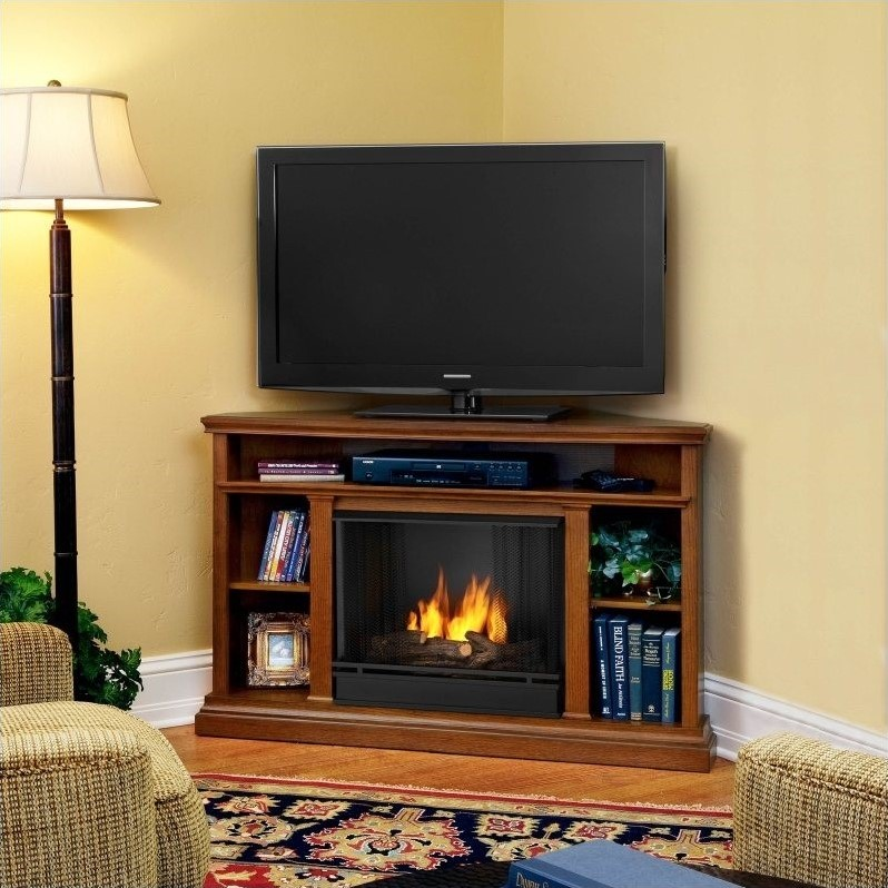 Churchill Gel Corner Fireplace in Oak