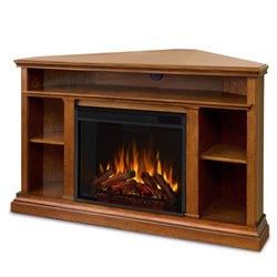 Real Flame Churchill Corner Fireplace in Oak