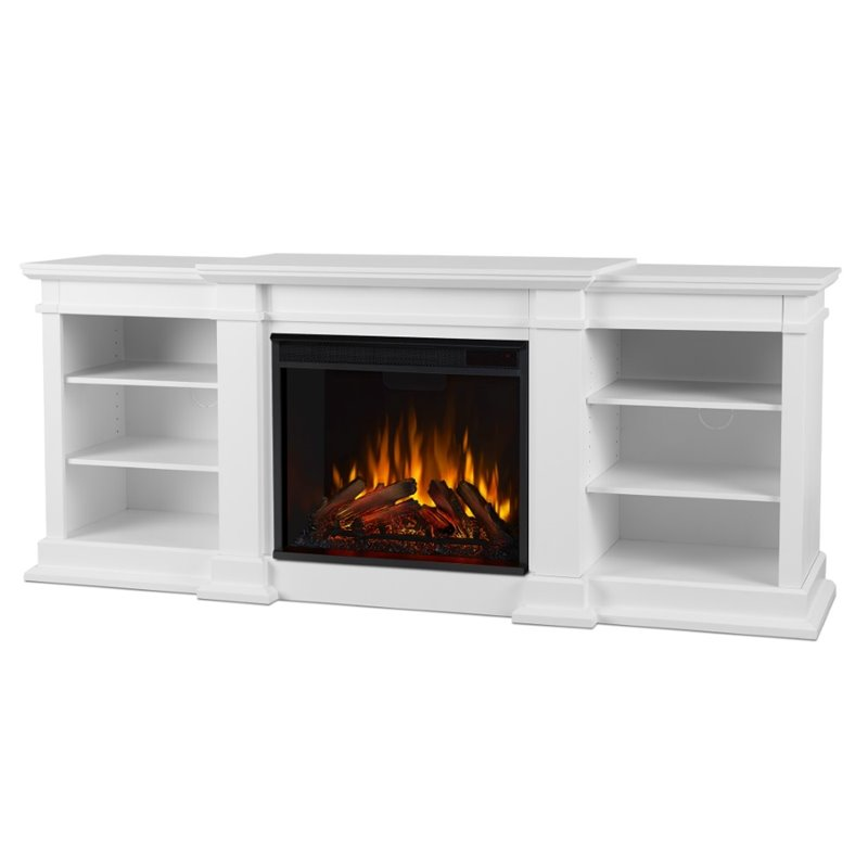 Real flame fresno electric fireplace tv stand in white for Decoration murale wayfair