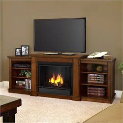 Real Flame Hawthorne Gel Fireplace TV Stand in Burnished Oak