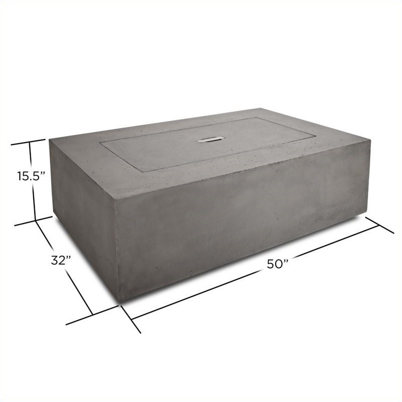 Real Flame Baltic Rectangular Propane Fire Table in Glacier Gray