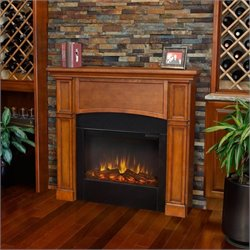 Real Flame Bradford Electric Slim Line Fireplace in Pecan Finish
