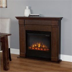 Real Flame Lowry Electric Slim Line Fireplace in Vintag Black Maple