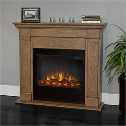 Real Flame Lowry Electric Slim Line Fireplace in Blonde Oak Finish
