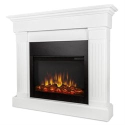 Real Flame Crawford Electric Slim Line Fireplace in White