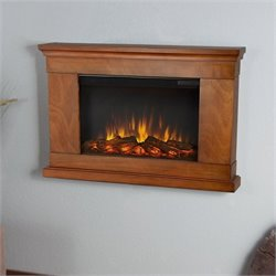 Real Flame Slim Jackson Electric Wall Fireplace in Pecan