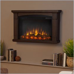 Real Flame Slim Brighton Electric Wall Fireplace in Chestnut Oak