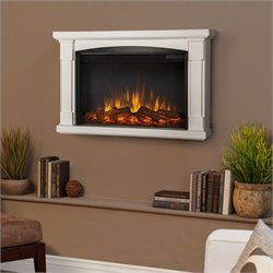Real Flame Slim Brighton Electric Wall Fireplace in White