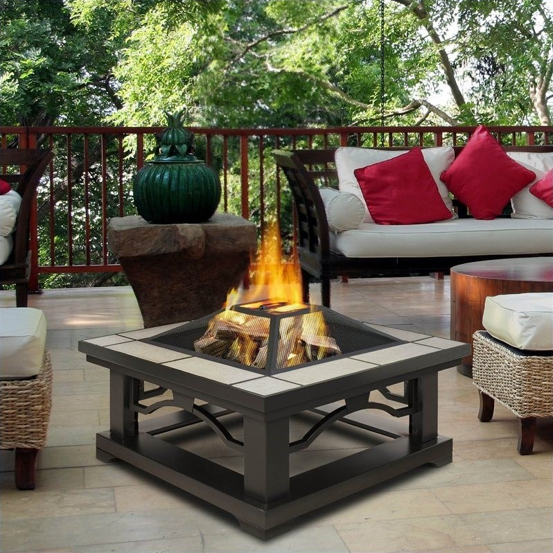 Real Flame Crestone Fire Pit in Gray Tile