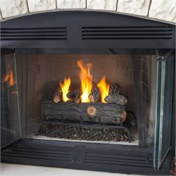 Real Flame 24 Inch Conversion Oak Log Set Gel Fuel Fireplace