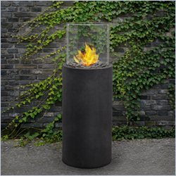 Real Flame Modesto Fire Column in Black Slate
