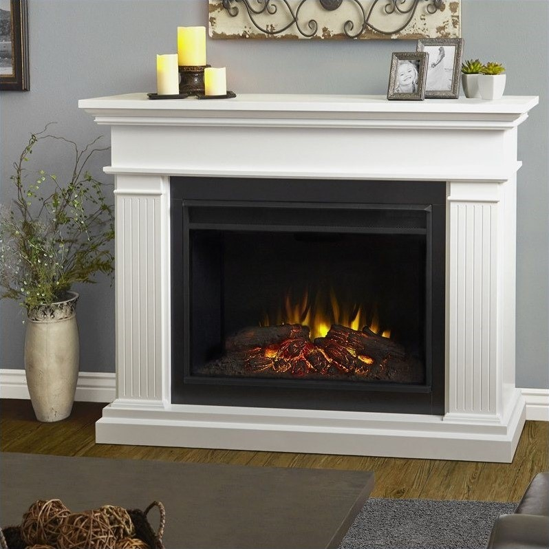 real flame kennedy electric grand fireplace in white 8070e w