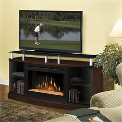 Dimplex Windham Flatpanel TV Stand and Electric Fireplace in Mocha - Logs