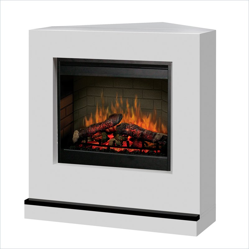 Contemporary Covertable Corner Electric Fireplace In White