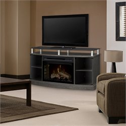 Dimplex Windham Media Electric Realogs Fireplace in Silver